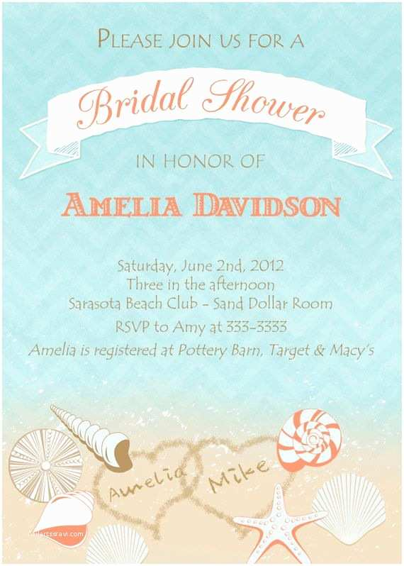 Printable Seashell Wedding Invitations Beach Bridal Shower Invitation Seashell Bridal Shower