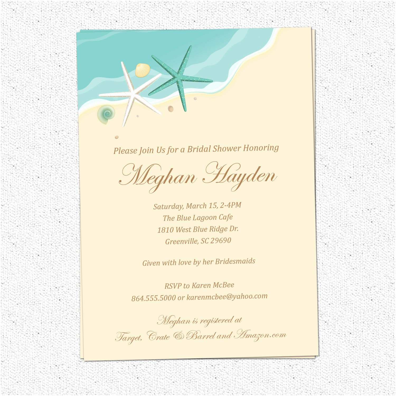 Printable Seashell Wedding Invitations Beach Invitations Bridal Shower Birthday Sand Sea Surf