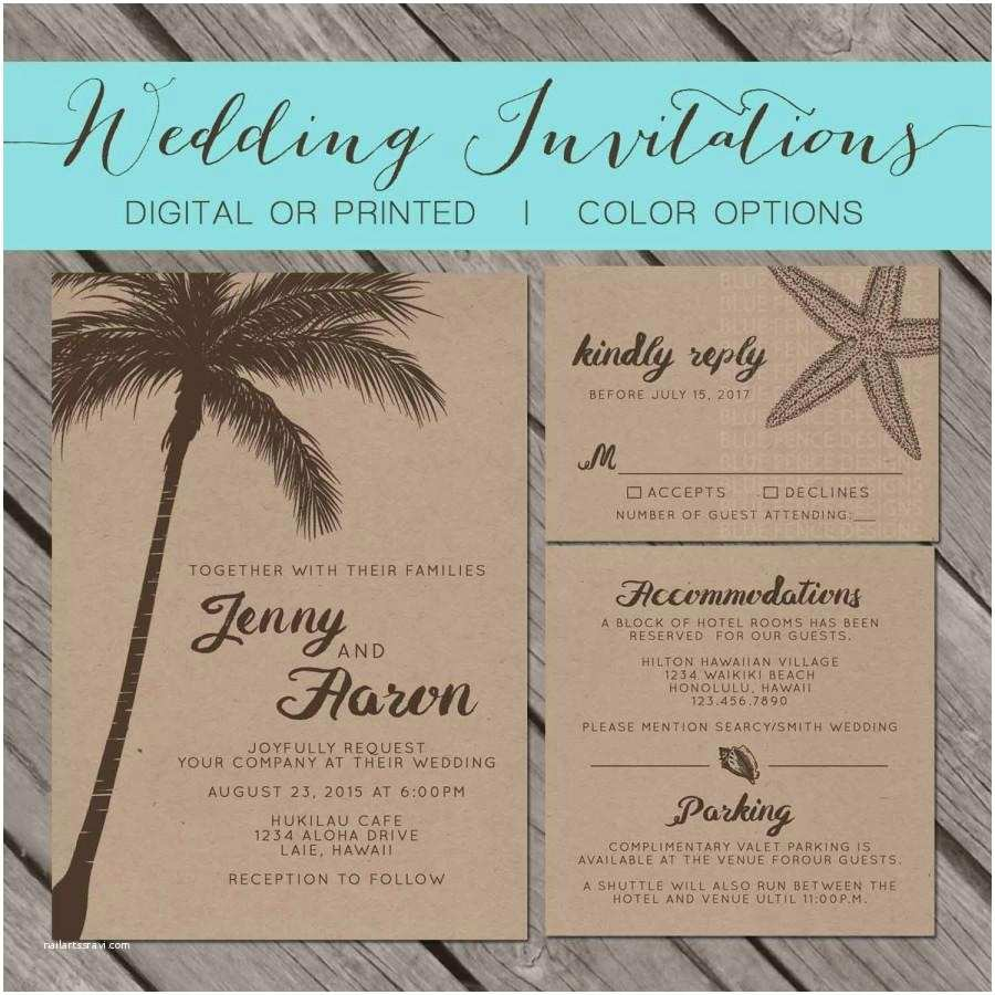 Printable Seashell Wedding Invitations Beach Kraft Paper Wedding Invitation Palm Trees island