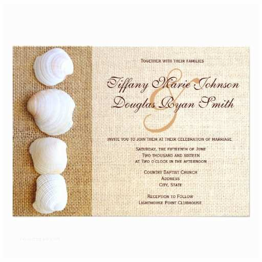 Printable Seashell Wedding Invitations Beach Seashells Burlap Print Wedding Invitations