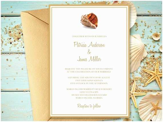 Printable Seashell Wedding Invitations Beach Wedding Invitation Template Seashell songs