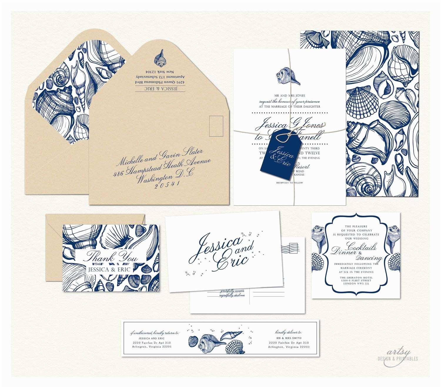 Printable Seashell Wedding Invitations Beach Wedding Invitations Printable Design Navy Blue