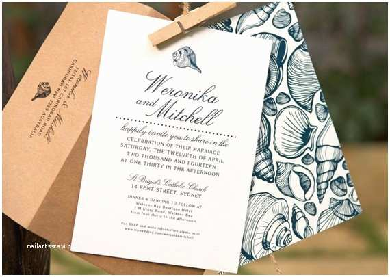 Printable Seashell Wedding Invitations Beach Wedding Invitations Printable Design Navy by