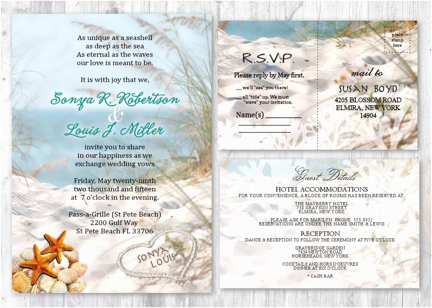 Printable Seashell Wedding Invitations Beach Wedding Invitations Seashell Wedding Invitation Beach