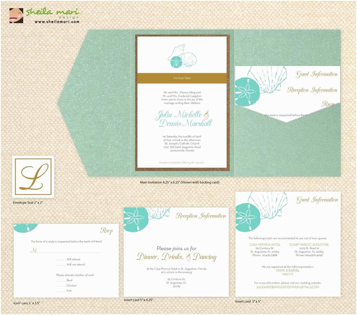 Printable Seashell Wedding Invitations Diy Custom Wedding Invitation Suite Beach Sea Shells