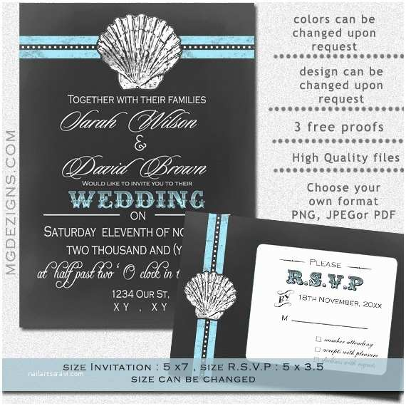 Printable Seashell Wedding Invitations Items Similar to Printable Wedding Invitation Template