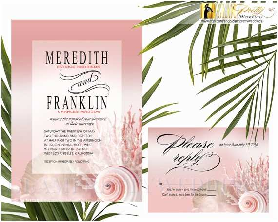 Printable Seashell Wedding Invitations Peach Blush Seashell Beach Wedding Invitation & Rsvp Card