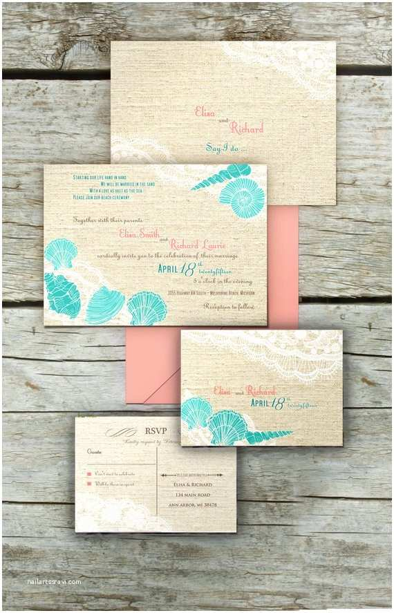 Printable Seashell Wedding Invitations Printable Beach Wedding Invitations Templates