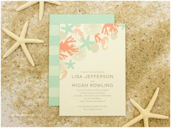 Printable Seashell Wedding Invitations Seashell Invitation Template
