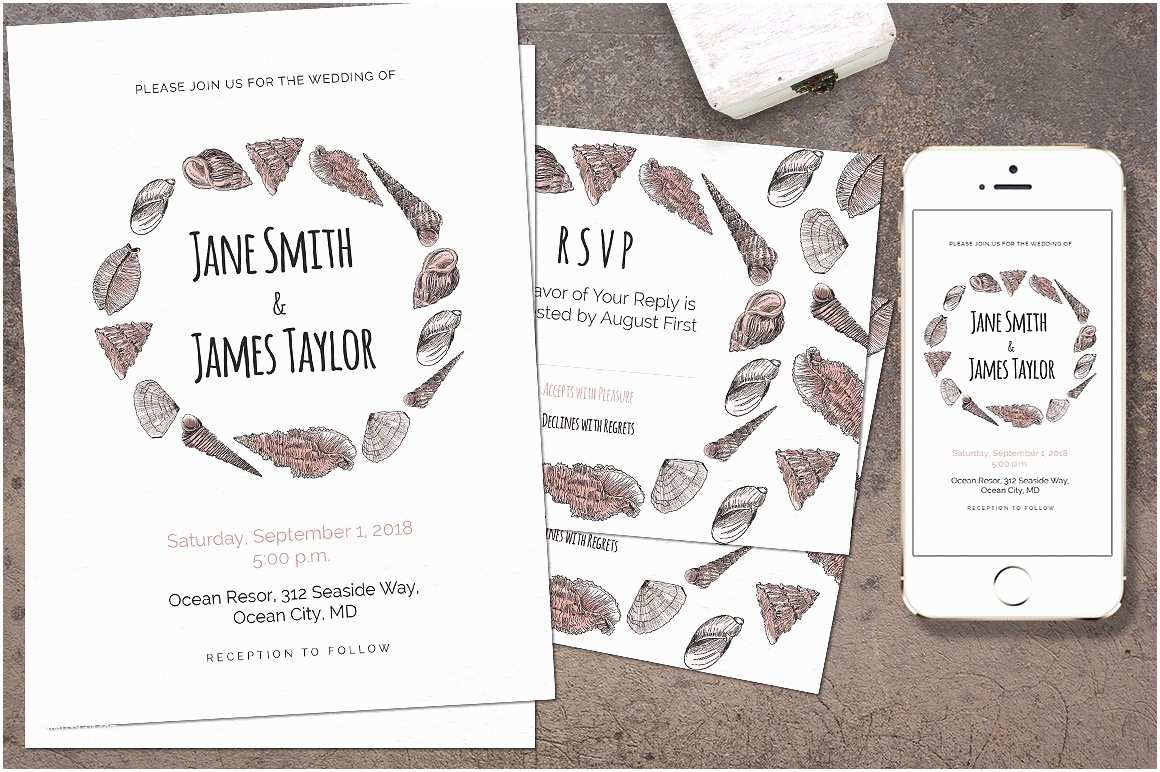 Printable Seashell Wedding Invitations Seashell Wedding Invitation Invitation Templates On
