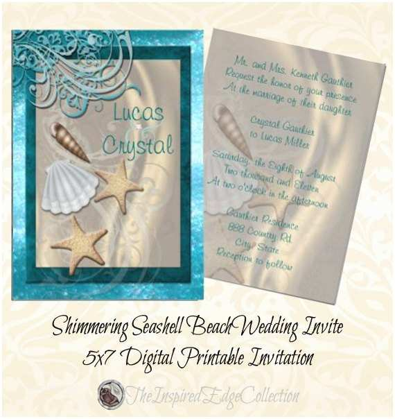 Printable Seashell Wedding Invitations Shimmering Seashell Beach Wedding Invitation Summer Wedding