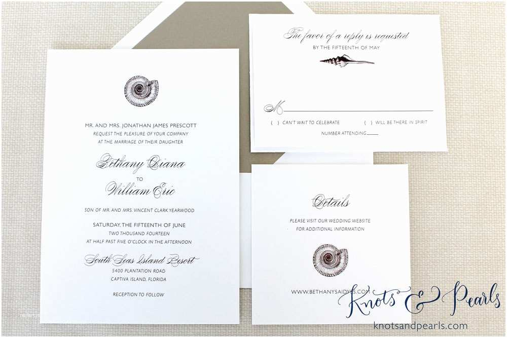 Printable Seashell Wedding Invitations Sundial Seashell Wedding Invitation Beach Shell Wedding