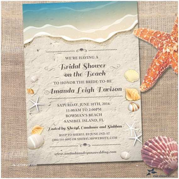 Printable Seashell Wedding Invitations Water S Edge Shells and Sand Beach Bridal Wedding Shower
