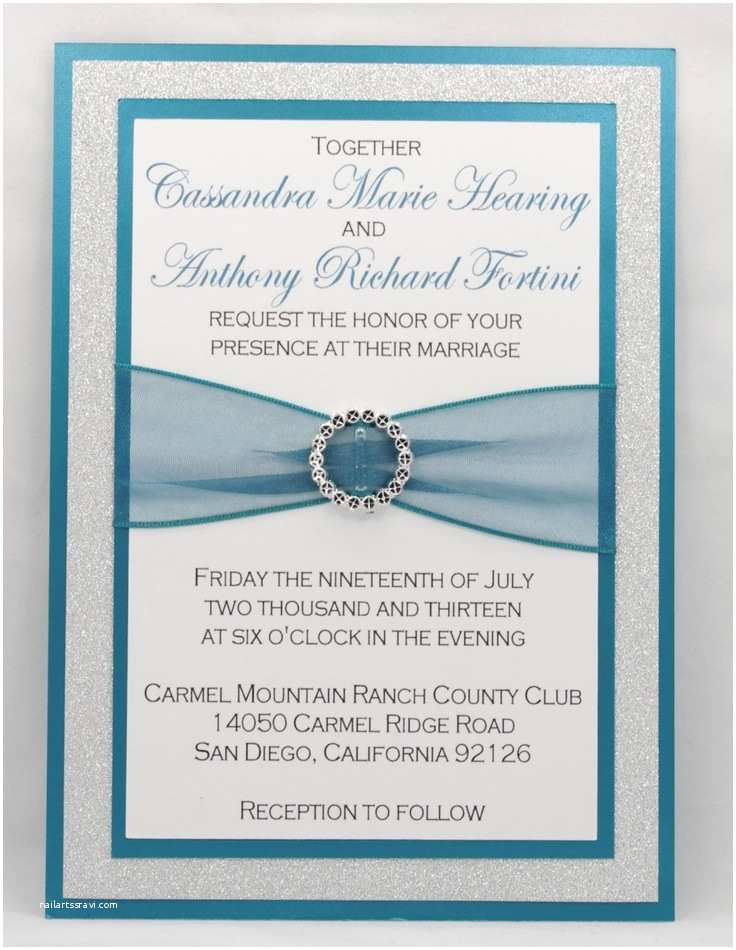 Printable Wedding Invitation Kits Diy Print at Home Stunning Teal & Silver Glitter