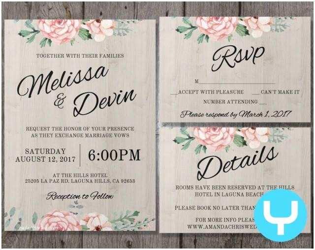 Printable Wedding Invitation Kits Printable Floral Wedding Invitation Kit Templates Rsvp