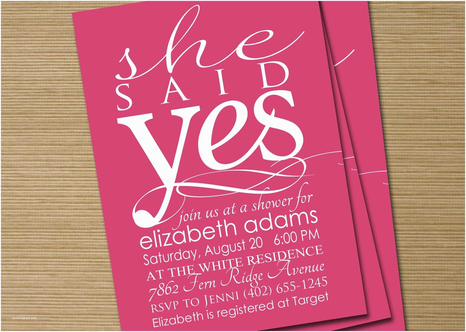 Printable Wedding Shower Invitations Bridal Shower Invite Printable She Said Yes by Cardsetcetera