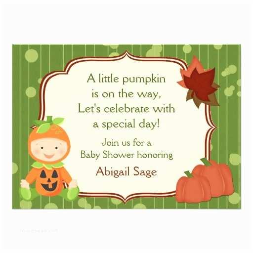 Pumpkin Baby Shower Invitations Cute Pumpkin Baby Halloween Baby Shower Invitation