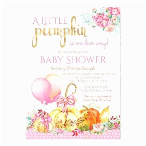 Pumpkin Baby Shower Invitations Girls Little Pumpkin Fall Baby Shower Invitations