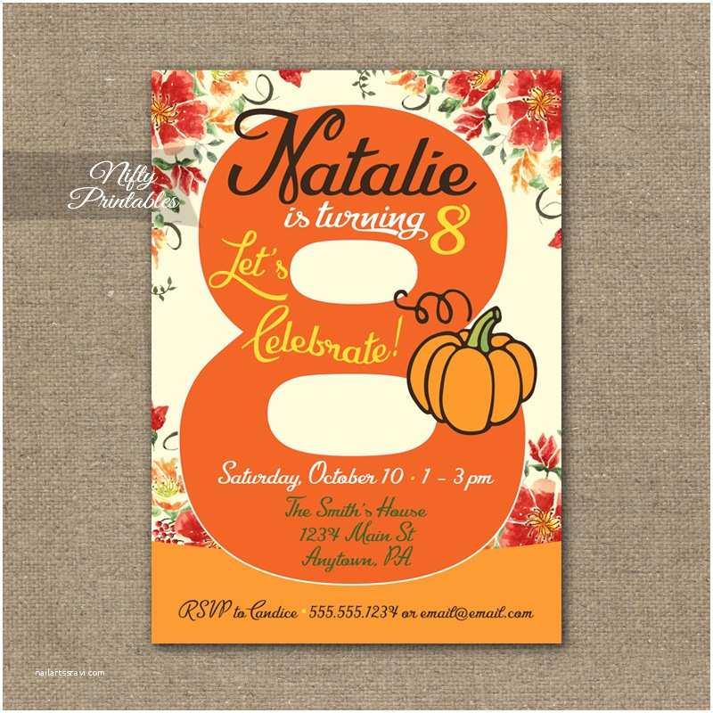 Pumpkin Birthday Invitations 8th Birthday Invitation Pumpkin Birthday Invitation