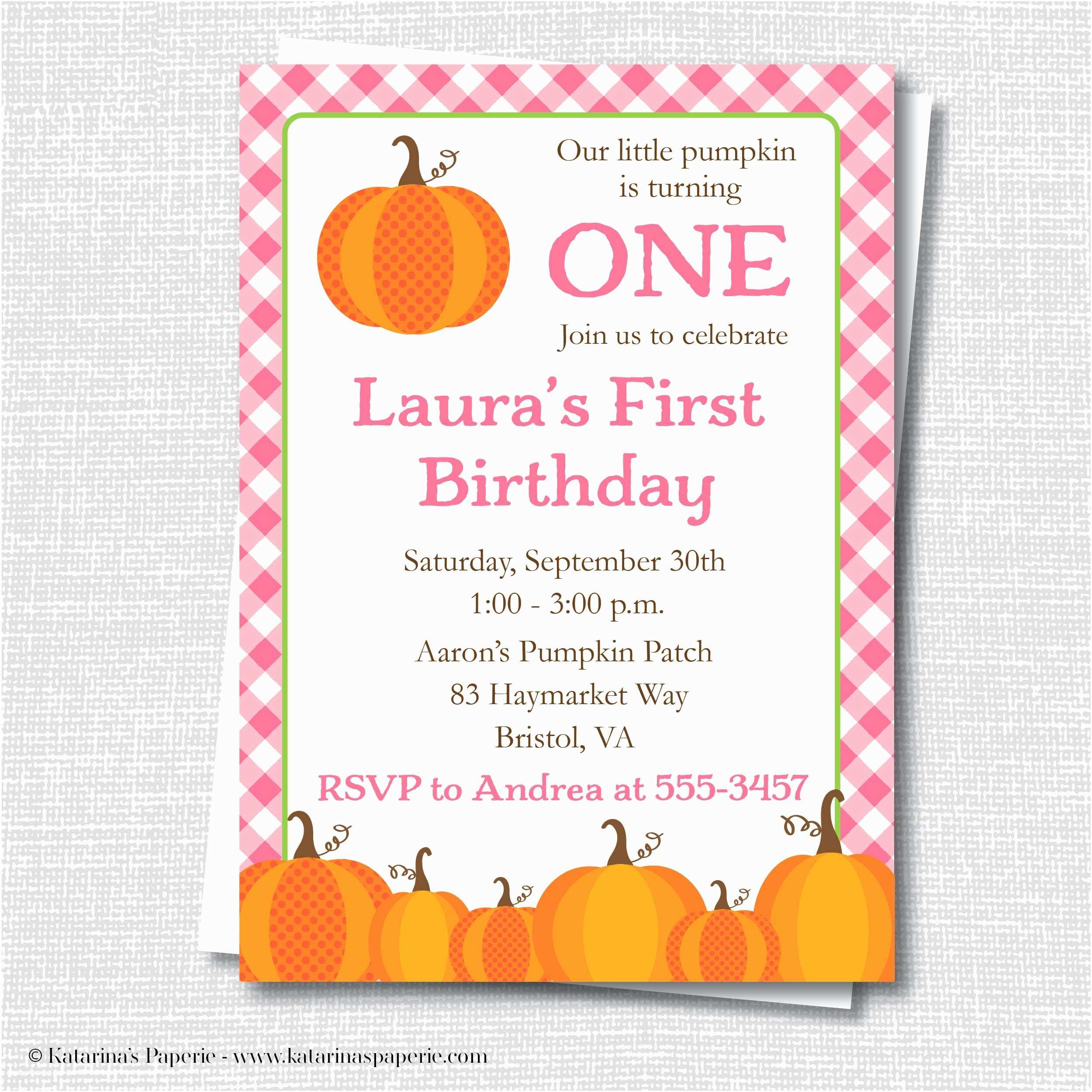 Pumpkin Birthday Invitations Pink Pumpkin Birthday Party Invitation Katarina S Paperie