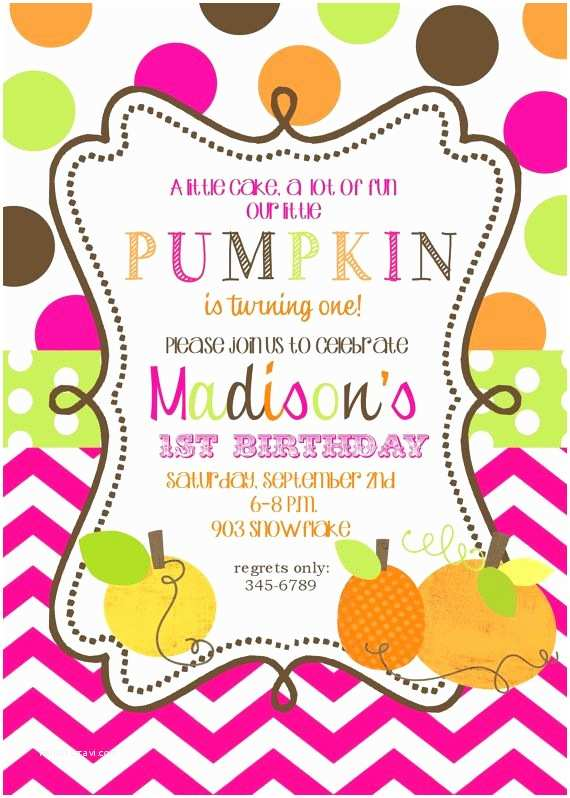 Pumpkin Birthday Invitations Pumpkin Birthday Party Invitations Printable or Digital File