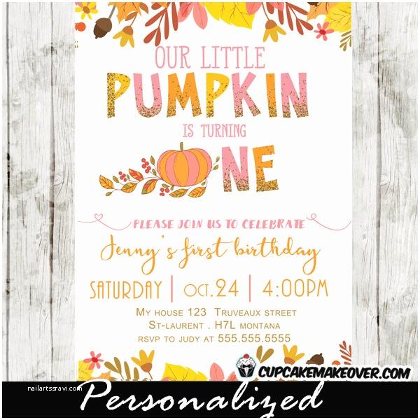 Pumpkin Birthday Invitations Pumpkin First Birthday Invitations Pink & orange
