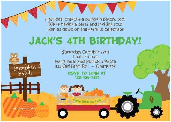 Pumpkin Birthday Invitations Pumpkin Patch Birthday Party Invitation Farm by