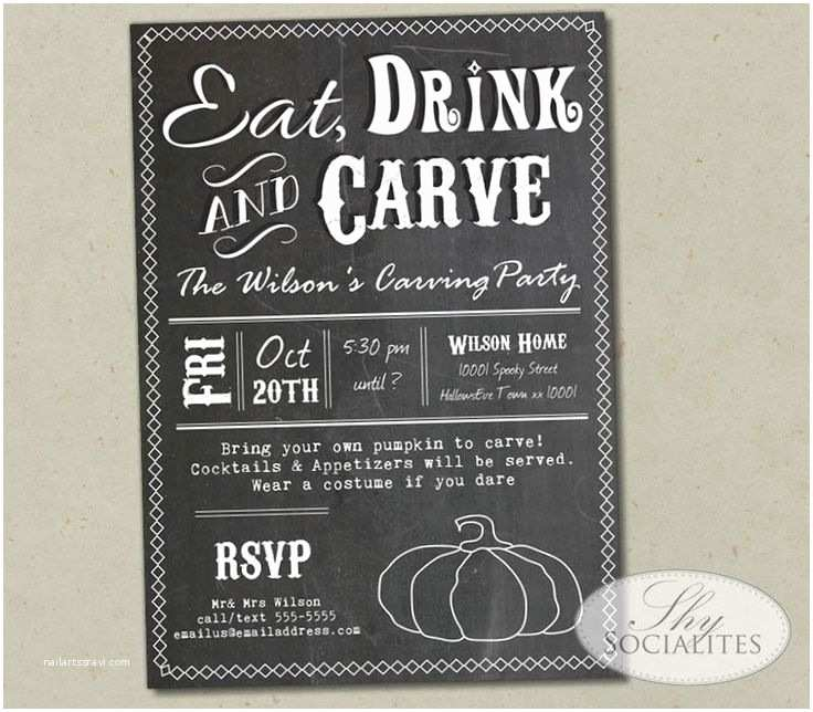 Pumpkin Carving Party Invitation Eat Drink and Carve Chalkboard Pumpkin Carving Party
