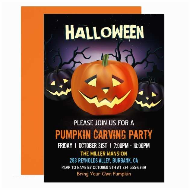 Pumpkin Carving Party Invitation Personalized Trick or Treat Invitations