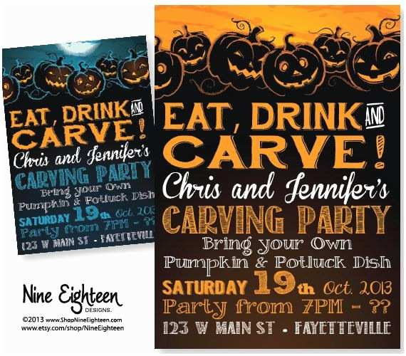 Pumpkin Carving Party Invitation Pumpkin Carving Halloween Party Invitation Eat Drink