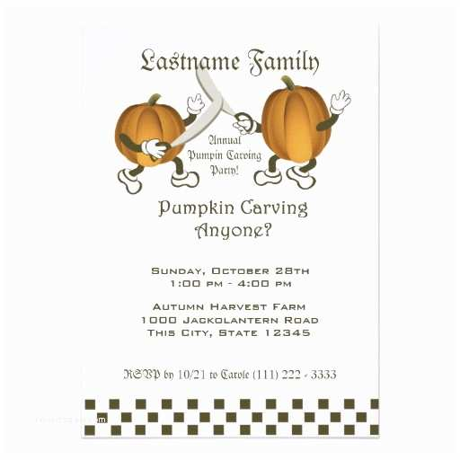 "Pumpkin Carving Party Invitation Pumpkin Carving Party 5"" X 7"" Invitation Card"