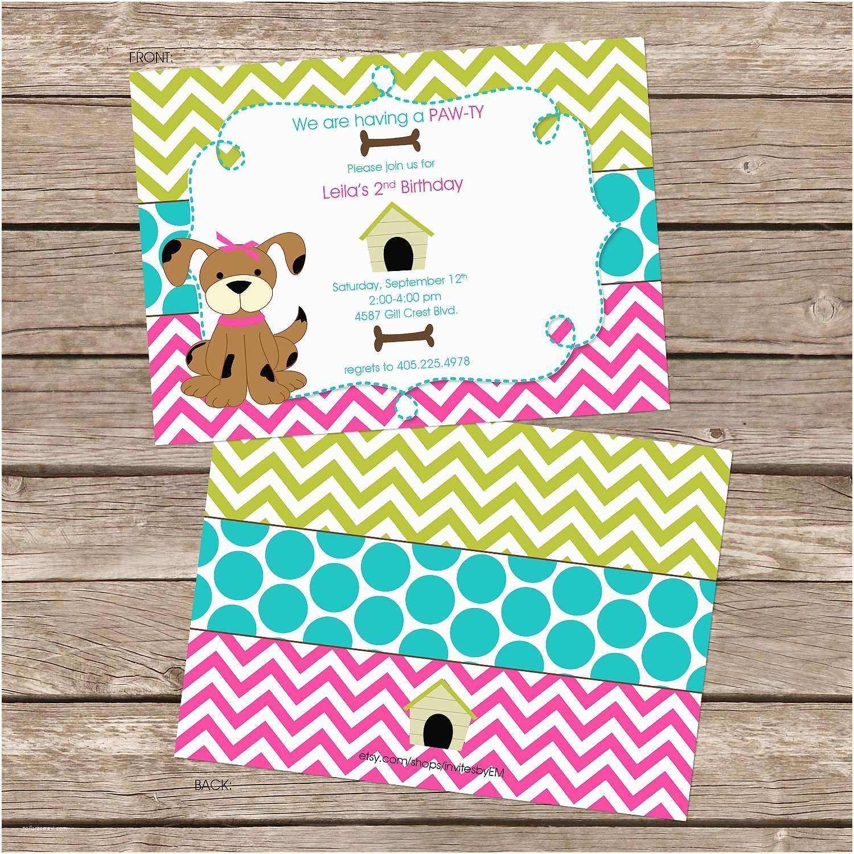 Puppy Party Invitations 25 Printed Girl Chevron Puppy Birthday Party by Invitesbyem