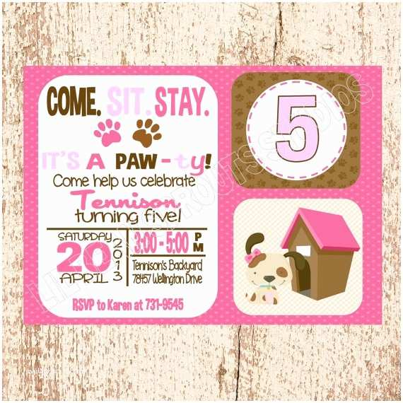 Puppy Party Invitations Personalized Girls Puppy Party Dog Party Birthday
