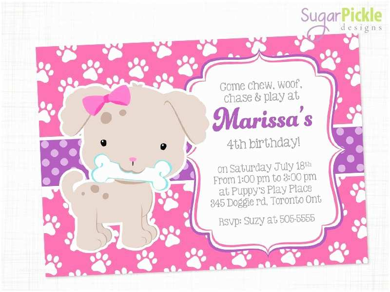 Puppy Party Invitations Pink Puppy Invitation Puppy Party Invitation Puppy Birthday