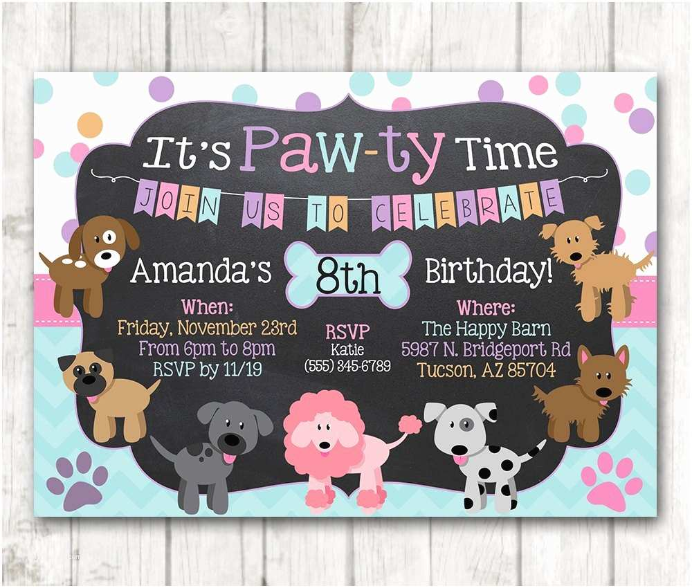 Puppy Party Invitations Printable Puppy Birthday Invitation Pawty Invitation