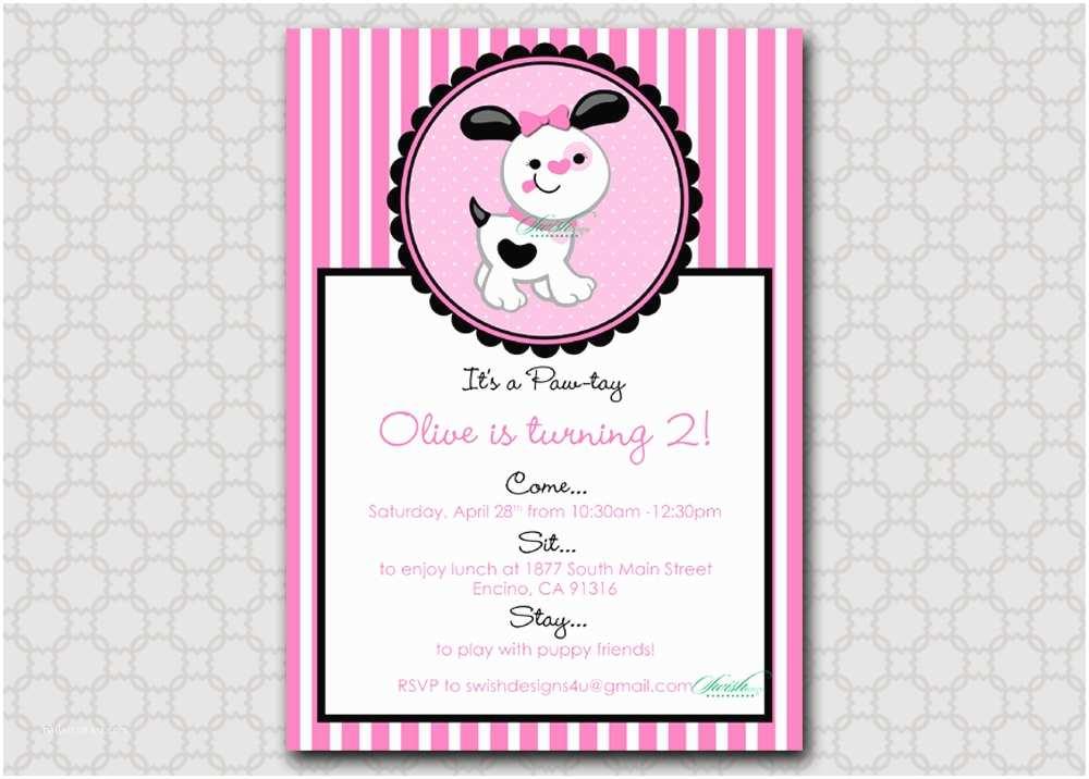 Puppy Party Invitations Puppy Birthday Invitation 5x7 Printable Digital Invite