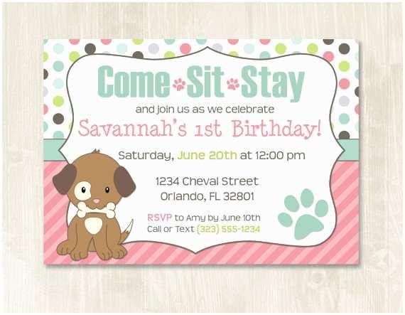 Puppy Party Invitations Puppy Birthday Invitation Customizable Puppy Party