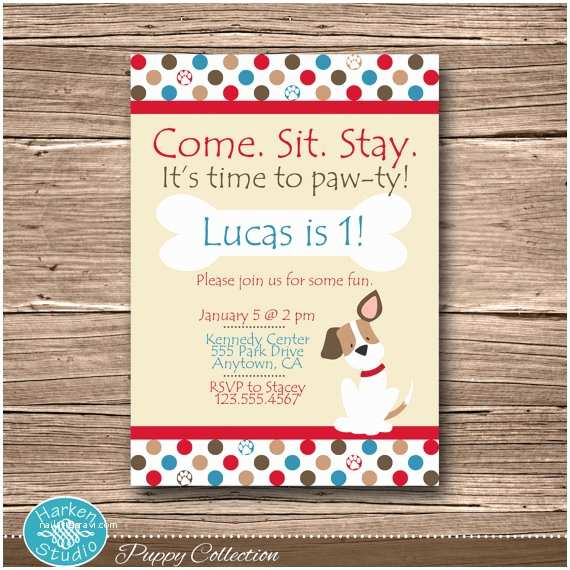 Puppy Party Invitations Puppy Birthday Party Invitation Printable Puppy Birthday