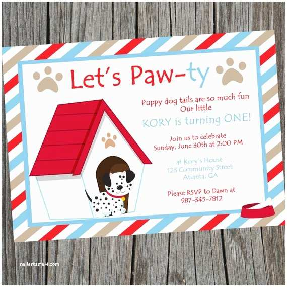 Puppy Party Invitations Puppy Dog Birthday Party Invitation Printable Puppy themed
