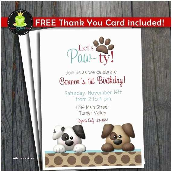Puppy Party Invitations Puppy Party Invitation Free Thank You Card Included