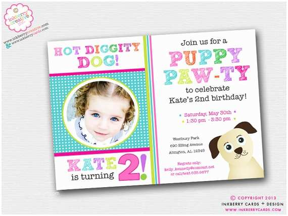 Puppy Party Invitations Puppy Paw Ty Dog theme Birthday Party Invitation by