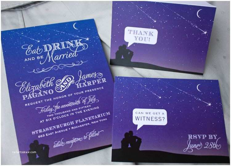 Purple and Blue Wedding Invitations Blue & Purple Night Sky with Shooting Stars & Stargazing