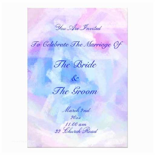 """Purple and Blue Wedding Invitations Blue and Purple Pastel Wedding Invitations 5"""" X 7"""