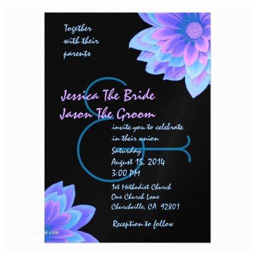 Purple and Blue Wedding Invitations Blue Purple and Black Flowers Wedding Template