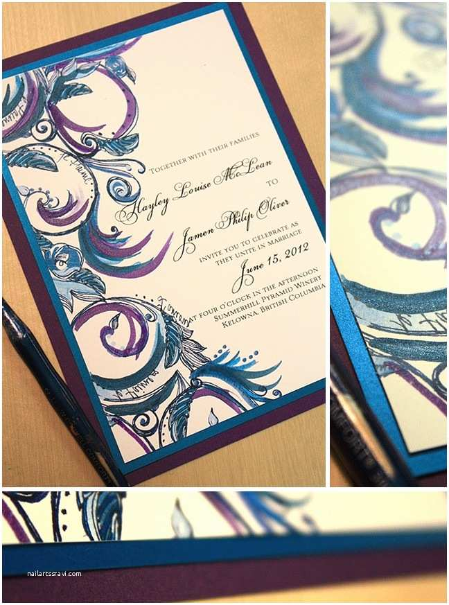 Purple and Blue Wedding Invitations Teal Royal Blue and Purple Swirl Wedding