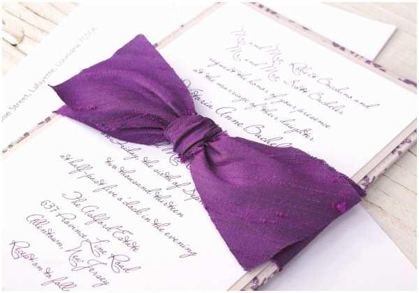 Purple and Blue Wedding Invitations tori Dan S Purple Woodland Fabric Wedding Invitations