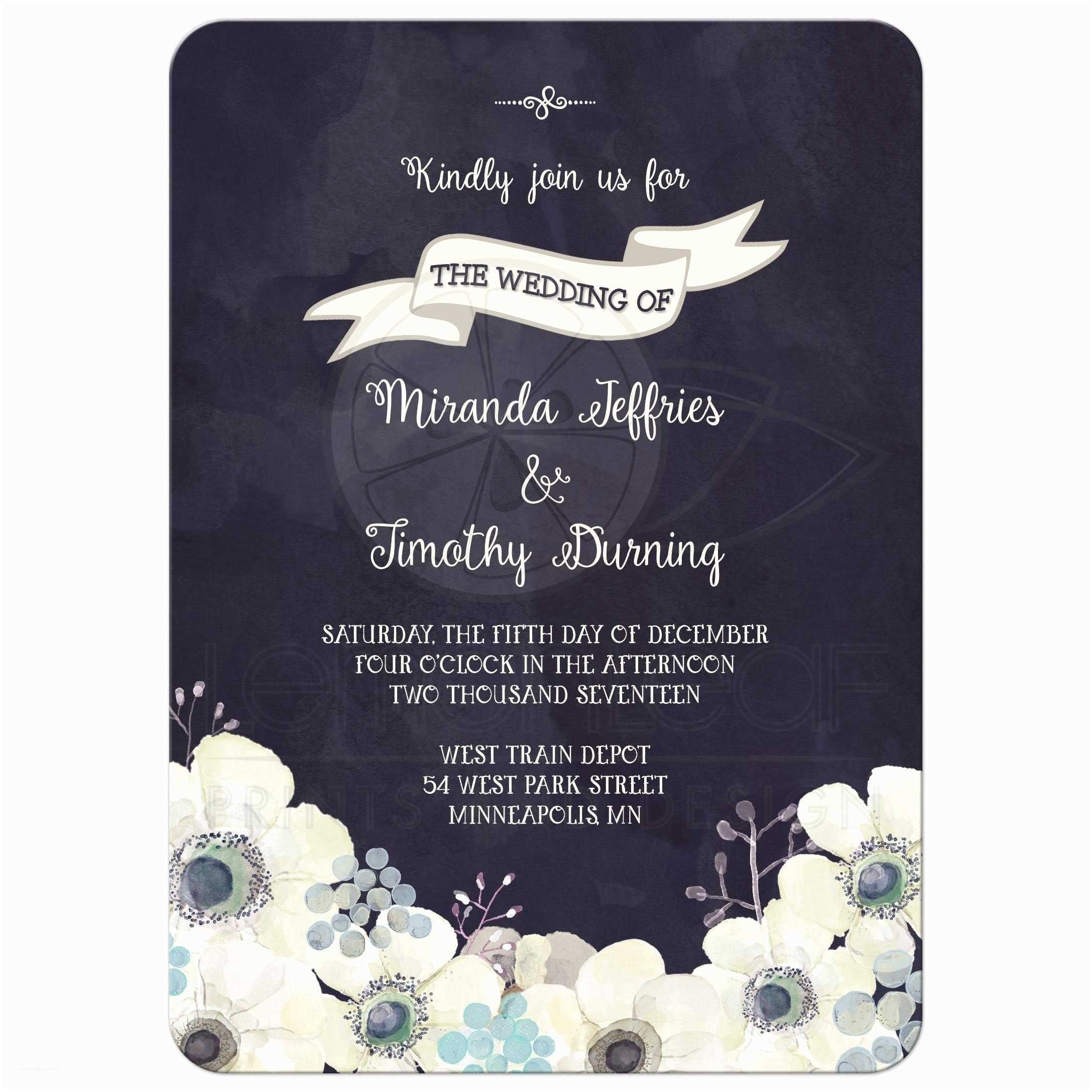 Purple and Blue Wedding Invitations Wedding Invitation Watercolor Midnight Blue Purple Gray