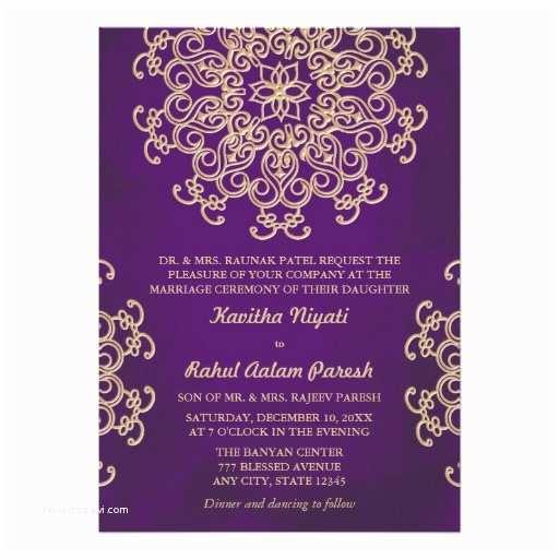 Purple and Gold Wedding Invitations Purple and Gold Indian Style Wedding Invitation
