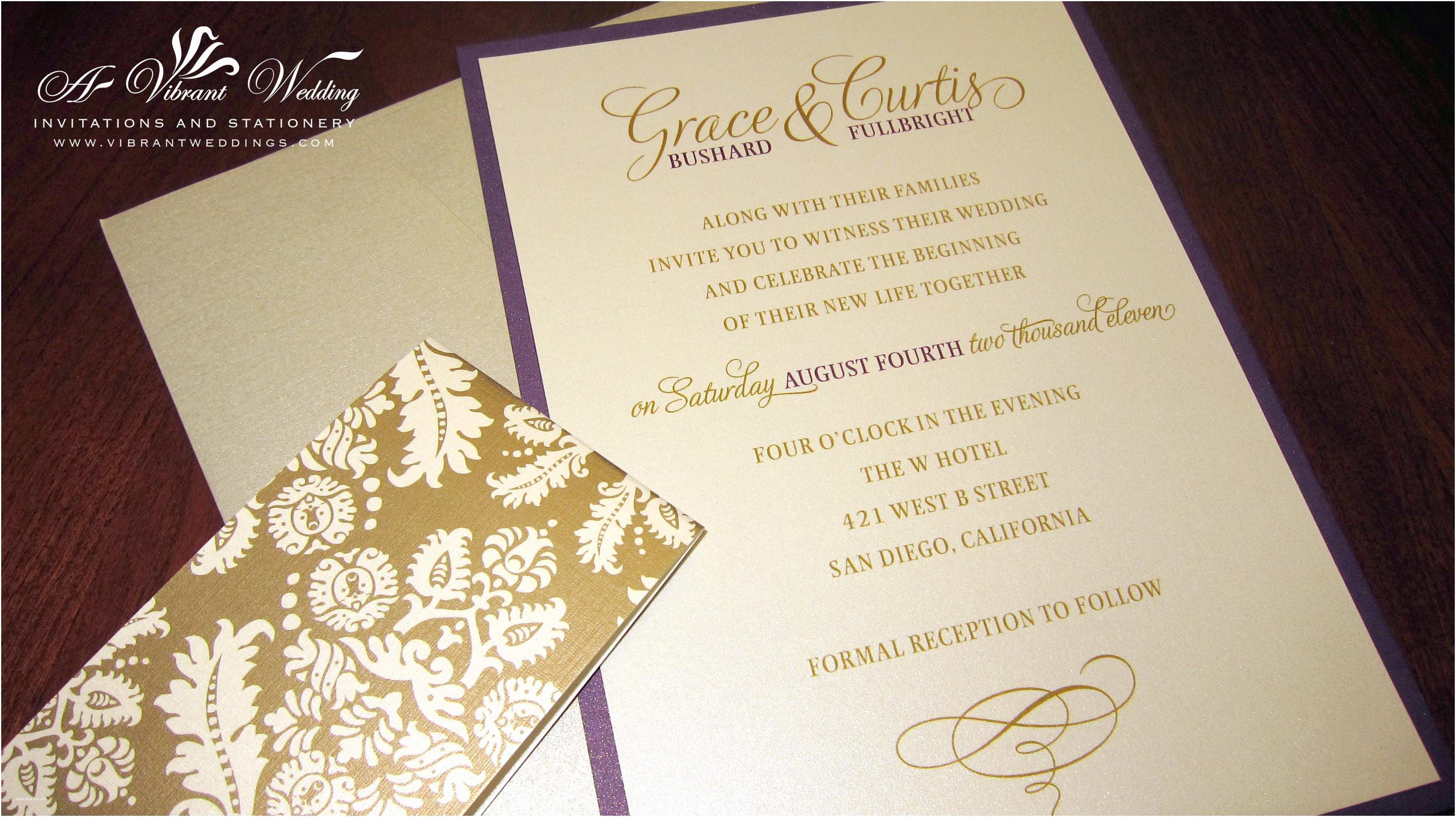 Purple and Gold Wedding Invitations Purple Wedding Invitation – A Vibrant Wedding