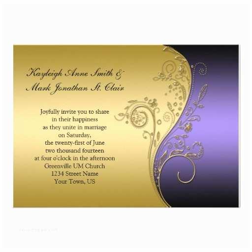 "Purple and Gold Wedding Invitations Vintage Purple Black and Gold Wedding Invitation 5"" X 7"